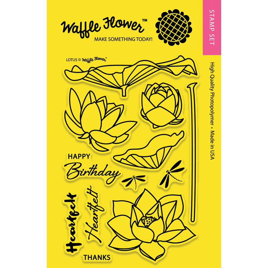 Waffle Flower Crafts Lotus Craft Die And Stamp Set Bundle