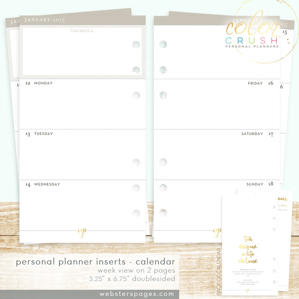 Websters Pages Color Crush 18 Month Week View Calendar Personal
