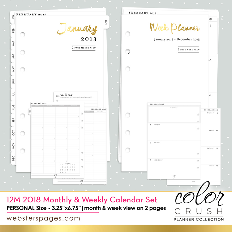 Websters Pages Color Crush Inserts  Month Week And Month Calendar