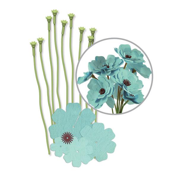 We R Memory Keepers Teal Crepe Paper Flower Kit