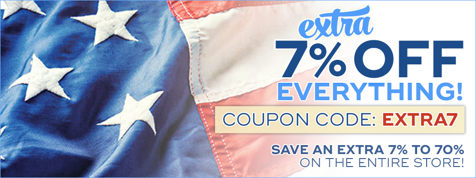Memorial Day 7% off code: EXTRA7