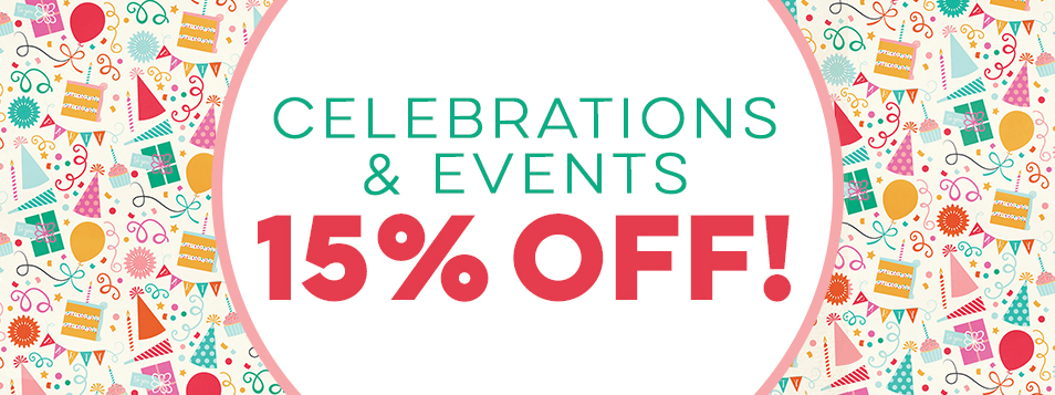 15% off celebrations and events